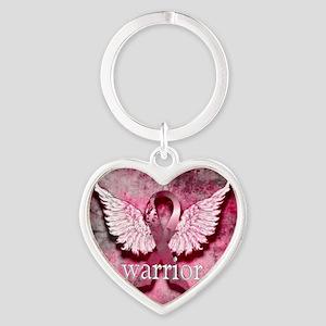 Pink Ribbon Warrior By Vetro Design Heart Keychain