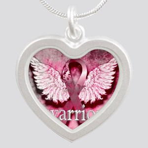 Pink Ribbon Warrior By Vetro Silver Heart Necklace