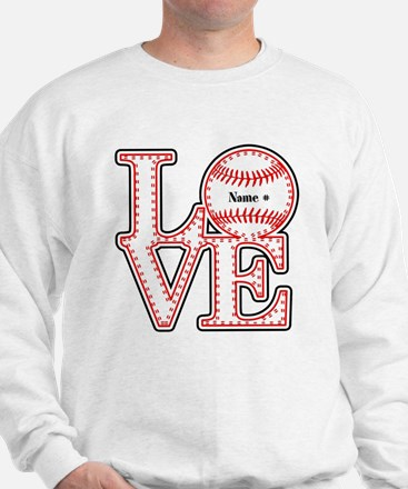 Personalized Front and Back Love Baseball Sweatshi