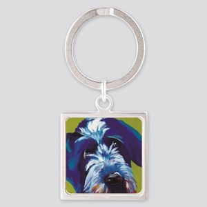 Blue and Lime Wire Haired Griffon  Square Keychain