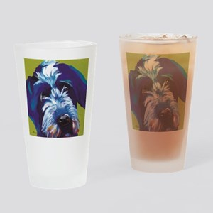 Blue and Lime Wire Haired Griffon  Drinking Glass