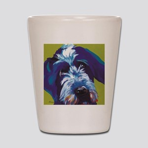 Blue and Lime Wire Haired Griffon  Shot Glass