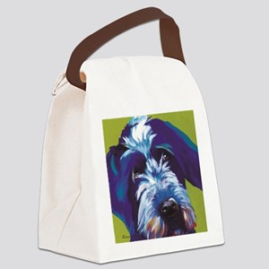Blue and Lime Wire Haired Griffon Canvas Lunch Bag
