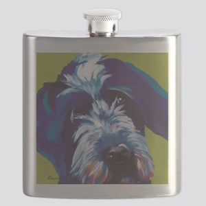 Blue and Lime Wire Haired Griffon  Flask