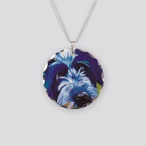 Blue and Lime Wire Haired Gr Necklace Circle Charm