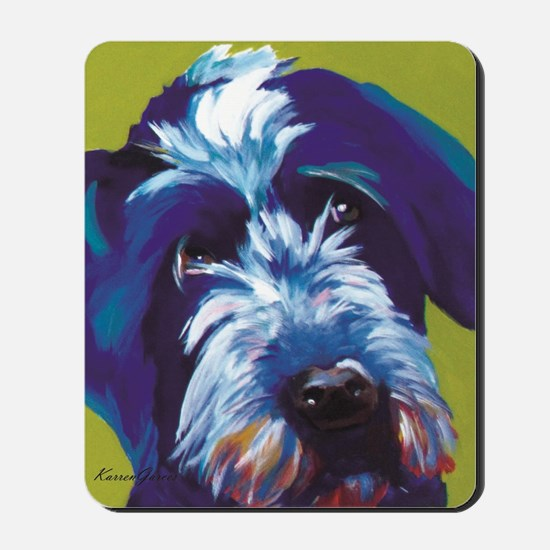 Blue and Lime Wire Haired Griffon  Mousepad