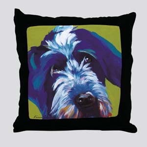 Blue and Lime Wire Haired Griffon  Throw Pillow