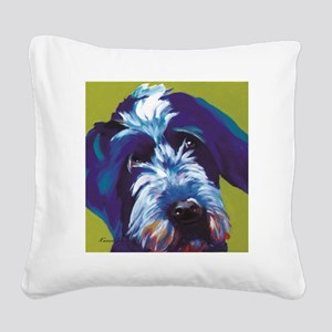Blue and Lime Wire Haired Gri Square Canvas Pillow