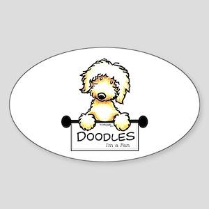 Labradoodle Fan Sticker (Oval)