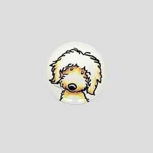 Yellow Labradoodle Face Mini Button