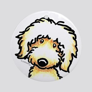 Yellow Labradoodle Face Ornament (Round)