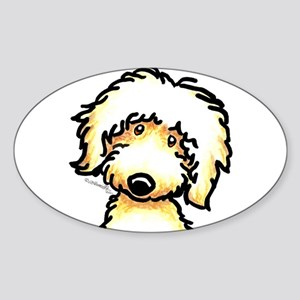 Yellow Labradoodle Face Sticker (Oval)
