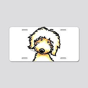 Yellow Labradoodle Face Aluminum License Plate