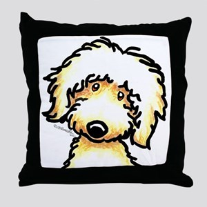 Yellow Labradoodle Face Throw Pillow