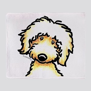 Yellow Labradoodle Face Throw Blanket