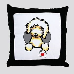 Yellow Labradoodle Heart Throw Pillow