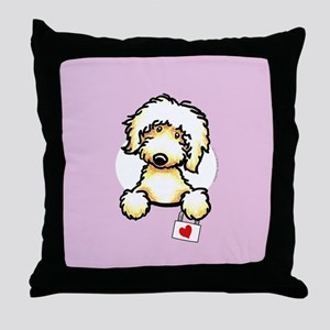 Yw Labradoodle Heart Lilac Throw Pillow