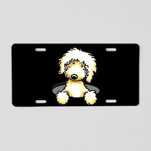 Peeking Golden Doodle Aluminum License Plate