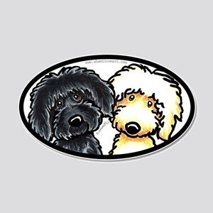 Black Yellow Labradoodle 20x12 Oval Wall Decal