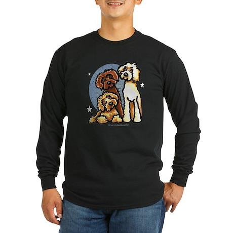 3 Labradoodle Dog Night Long Sleeve Dark T-Shirt