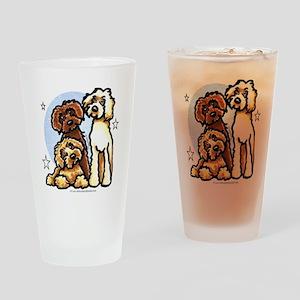 3 Labradoodle Dog Night Drinking Glass