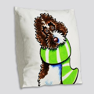 Labradoodle Scarf Burlap Throw Pillow