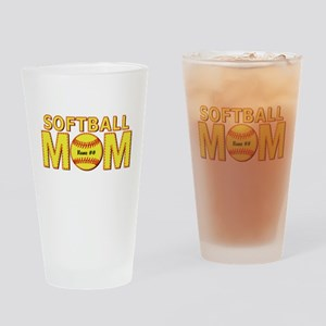 Personalized Softball Mom Drinking Glass
