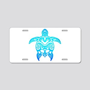 Ocean Blue Tribal Turtle Aluminum License Plate