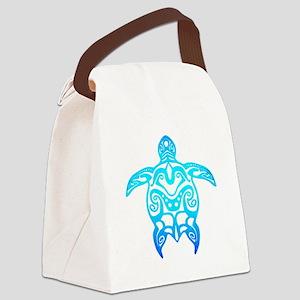 Ocean Blue Tribal Turtle Canvas Lunch Bag