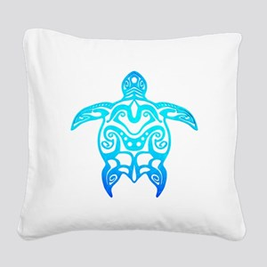 Ocean Blue Tribal Turtle Square Canvas Pillow