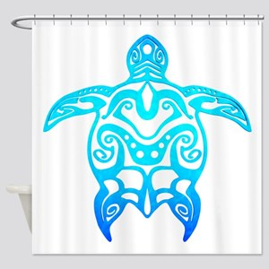 Ocean Blue Tribal Turtle Shower Curtain