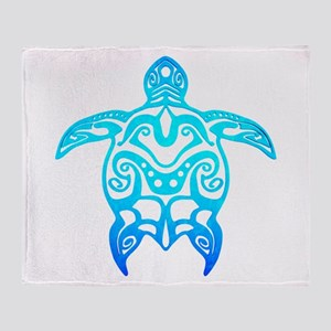 Ocean Blue Tribal Turtle Throw Blanket