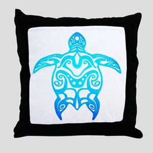Ocean Blue Tribal Turtle Throw Pillow