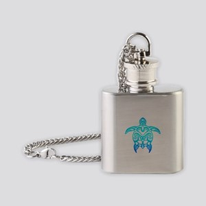 Ocean Blue Tribal Turtle Flask Necklace