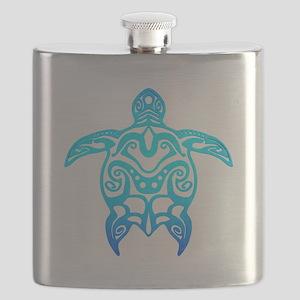 Ocean Blue Tribal Turtle Flask