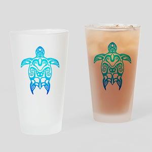 Ocean Blue Tribal Turtle Drinking Glass