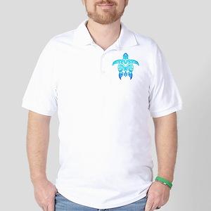 Ocean Blue Tribal Turtle Golf Shirt