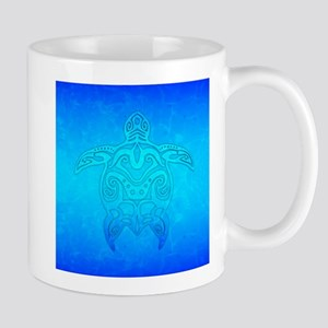 Tribal Turtle Ocean Blue Mugs