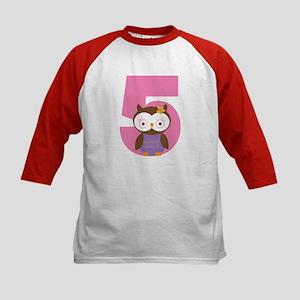5th Birthday Owl Kids Baseball Jersey