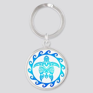 Blue Tribal Turtle Sun Keychains