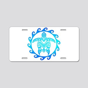 Blue Tribal Turtle Sun Aluminum License Plate