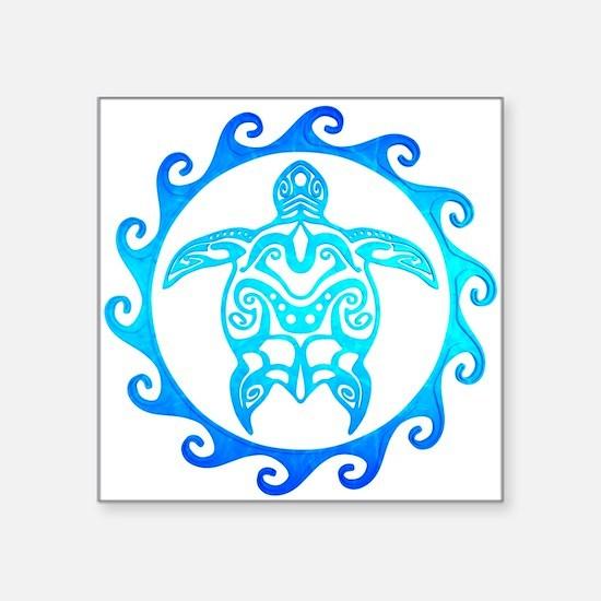 Blue Tribal Turtle Sun Sticker