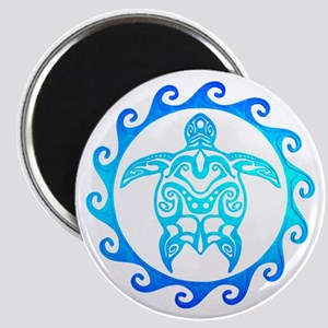 Blue Tribal Turtle Sun Magnets