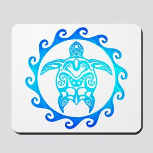 Blue Tribal Turtle Sun Mousepad