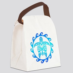 Blue Tribal Turtle Sun Canvas Lunch Bag