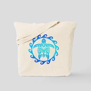 Blue Tribal Turtle Sun Tote Bag