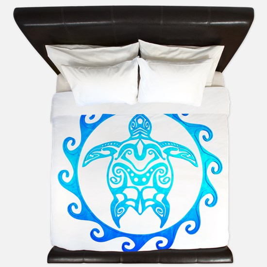Blue Tribal Turtle Sun King Duvet