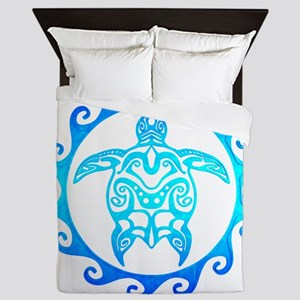 Blue Tribal Turtle Sun Queen Duvet