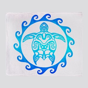 Blue Tribal Turtle Sun Throw Blanket