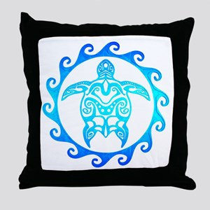 Blue Tribal Turtle Sun Throw Pillow
